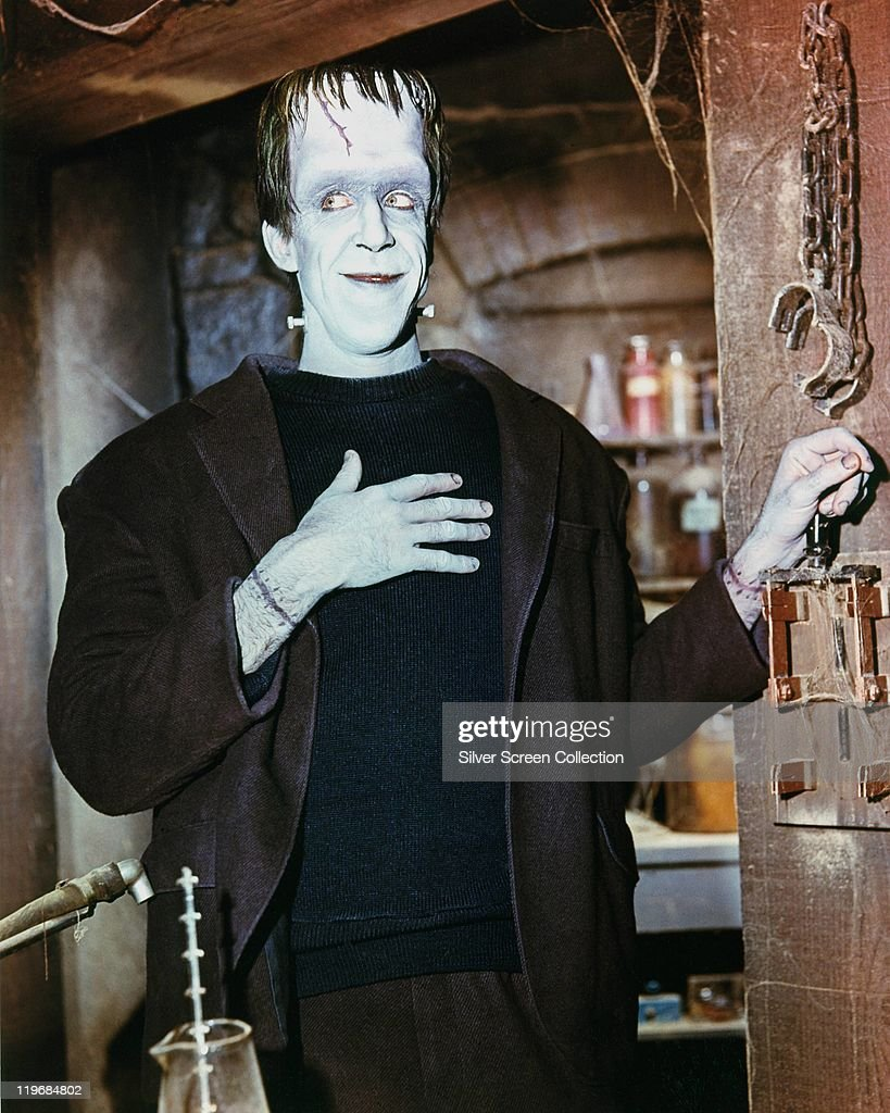 Fred Gwynne (1926-1993), US actor, in costume in a publicity portrait issued for the US television series, 'The Munsters', USA, circa 1965. The sitcom starred Gwynne as 'Herman Munster'.