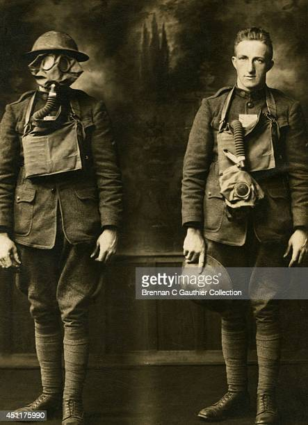 Fred Hamann poses in a unique double exposure photo showing a pair of 'front line' poses Fred is wearing his gas mask and helmet on the left and...