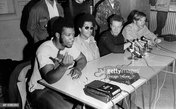 Fred Hampton left chairman of the Black Panthers speaks during a press conference with the Young Lords a Puerto Rican civil and human rights group on...
