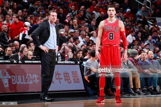 Fred Hoiberg and Zach LaVine of the Chicago Bulls look on during the game against the Golden State Warriors on January 17 2018 at the United Center...