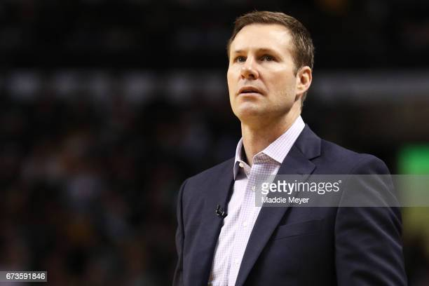 Fred Hoiberg Head Coach of the Chicago Bulls looks on during the third quarter of Game Five of the Eastern Conference Quarterfinals against the...