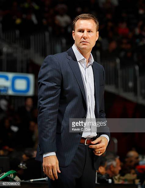 Fred Hoiberg of the Chicago Bulls looks on during the game against the Atlanta Hawks `at Philips Arena on November 9 2016 in Atlanta Georgia NOTE TO...