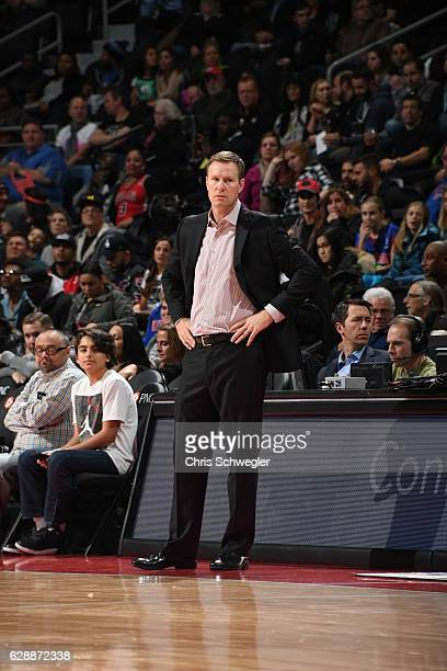 Fred Hoiberg of the Chicago Bulls looks on during the game against the Detroit Pistons on December 6 2016 at The Palace of Auburn Hills in Auburn...
