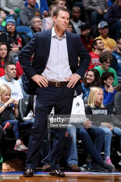 Fred Hoiberg of the Chicago Bulls looks on during the game against the Minnesota Timberwolves on February 12 2017 at Target Center in Minneapolis...