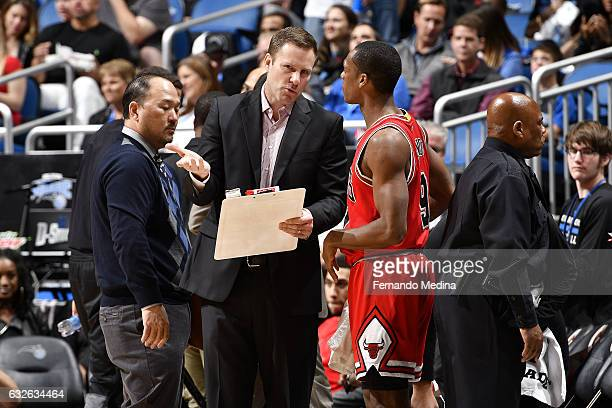 Fred Hoiberg of the Chicago Bulls talks with Rajon Rondo of the Chicago Bulls during the game against the Orlando Magic on January 24 2017 at Amway...