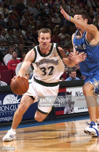 Fred Hoiberg of the Minnesota Timberwolves moves the ball against the Orlando Magic on March 11 2005 at TD Waterhouse Centre in Orlando Florida The...