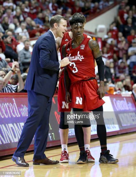 Fred Hoiberg the head coach of the Nebraska Cornhuskers gives instruction to Cam Mack against the Indiana Hoosiers at Assembly Hall on December 13,...