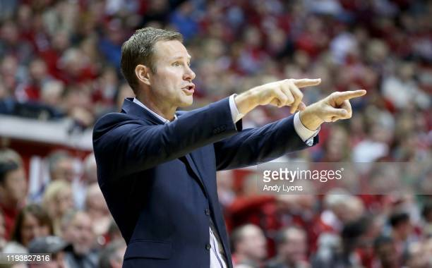 Fred Hoiberg the head coach of the Nebraska Cornhuskers gives instructions to his team against the Indiana Hoosiers at Assembly Hall on December 13,...