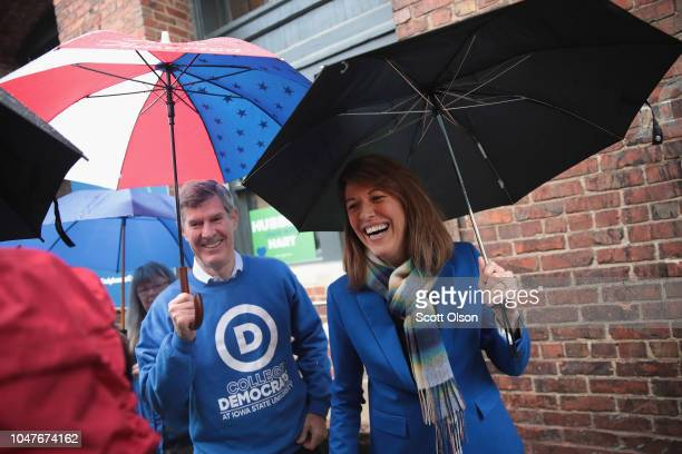 Fred Hubbell Democratic candidate for governor of Iowa hosts a getoutthevote rally with Cindy Axne democratic candidate for the US House in Iowa's...