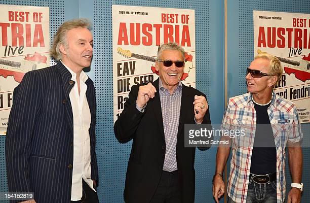 Fred Jaklitsch Rainhard Fendrich Klaus Eberhartinger attends a press conference to announce the November 2012 Die Seer Rainhard Fendrich And EAV tour...