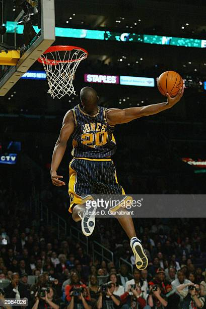 Fred Jones of the Indiana Pacers dunks during the Sprite Rising Stars Slam Dunk Competition on February 14 2004 at Staples Center in Los Angeles...