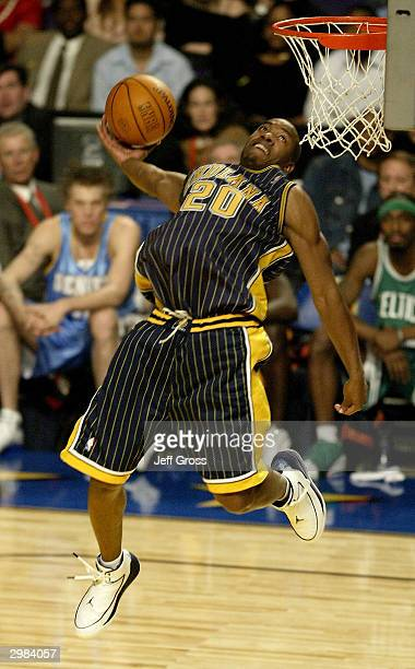 Fred Jones of the Indiana Pacers goes to the basket in route to winning the Sprite Rising Stars Slam Dunk Competition part of the 53rd NBA AllStar...