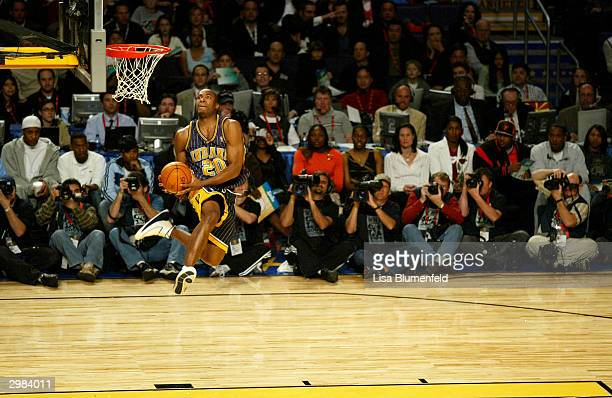 Fred Jones of the Indiana Pacers goes up for a dunk in the first round of the Sprite Rising Stars Slam Dunk Competition part of the 53rd NBA AllStar...