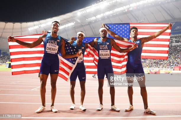 Fred Kerley Michael Cherry Wilbert London and Rai Benjamin of the United States celebrate winning gold in the Men's 4x400 metres relay final during...