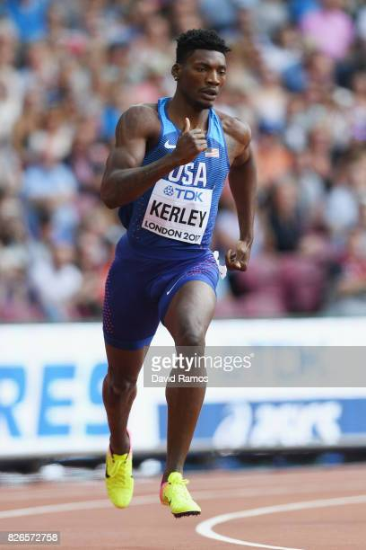 Fred Kerley of the United States competes in the Men's 400 metres heats during day two of the 16th IAAF World Athletics Championships London 2017 at...