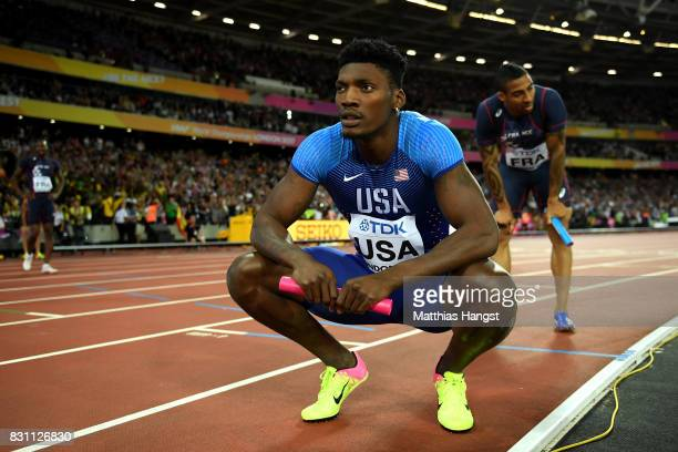 Fred Kerley of the United States in the Men's 4x400 Metres Relay final during day ten of the 16th IAAF World Athletics Championships London 2017 at...