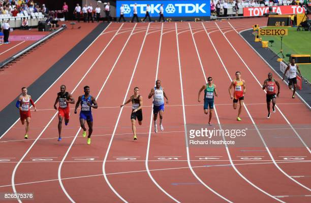 Fred Kerley of the United States Kevin Borlee of Belgium and Matthew HudsonSmith of Great Britain lead the Men's 400 metres heats during day two of...