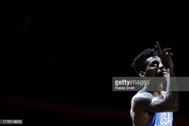 Fred Kerley of the United States prepares to compete in the Men's 400 metres final during day eight of 17th IAAF World Athletics Championships Doha...