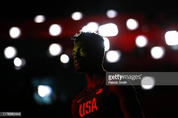 Fred Kerley of the United States reacts prior to competing in the Men's 4x400 metres relay final during day ten of 17th IAAF World Athletics...