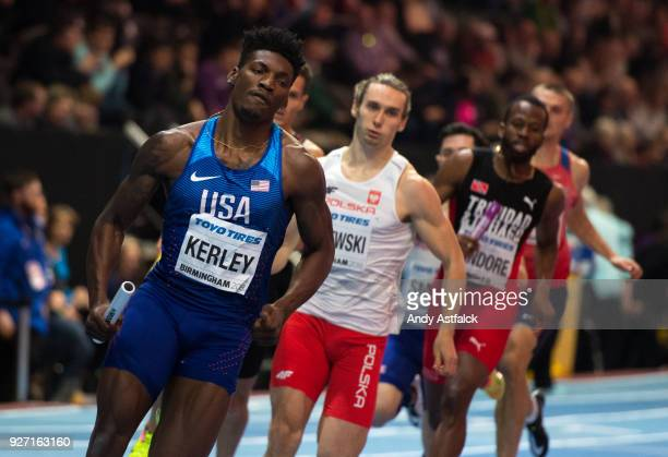 Fred Kerley of the USA leads during the Men's 4x400m Final on Day 4 of the IAAF World Indoor Championships at Arena Birmingham on March 4 2018 in...