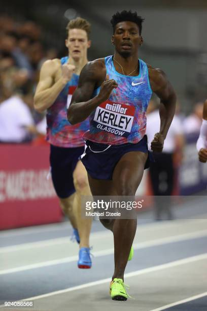 Fred Kerley of USA on his way to victory in the men's 400m during the Muller Indoor Grand Prix at Emirates Arena on February 25 2018 in Glasgow...