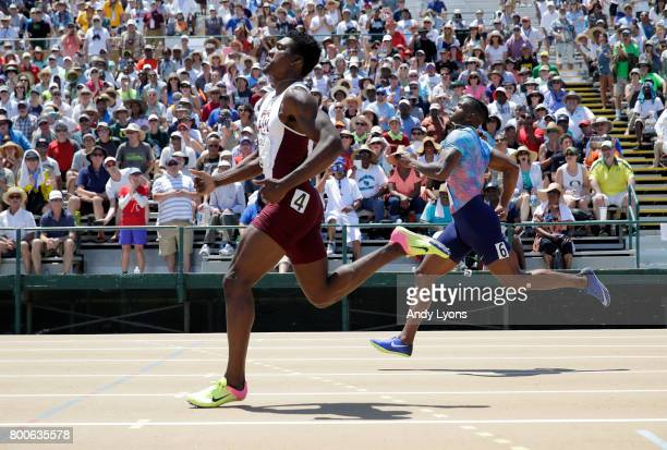 Fred Kerley runs to victory in the Men's 400 Meter Final during Day 3 of the 2017 USA Track Field Championships at Hornet Satdium on June 24 2017 in...