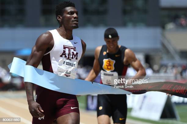 Fred Kerley wins the Men's 400m Final during Day 3 of the 2017 USA Track Field Outdoor Championships at Hornet Stadium on June 24 2017 in Sacramento...