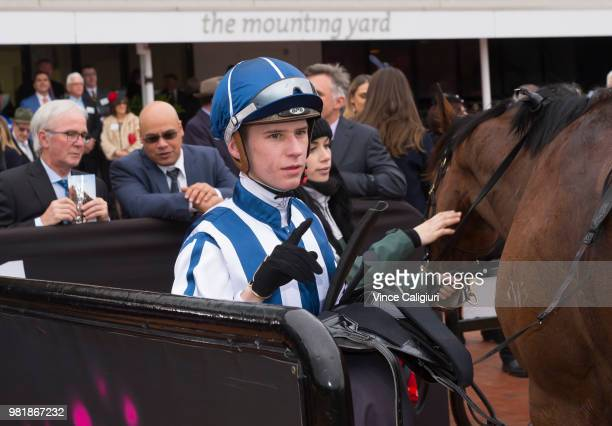 Fred Kersley after riding Miles of Krishan to win Race 2 during Melbourne Racing at Flemington Racecourse on June 23 2018 in Melbourne Australia