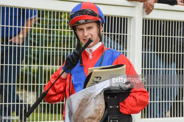 Fred Kersley after winning the ClassicBet BM78 Handicap at Seymour Racecourse on April 10 2018 in Seymour Australia