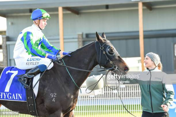 Fred Kersley returns to the mounting yard aboard She's Popular after winning the Cardinia Club Trivia 22nd June BM58 Handicap at Racingcom Park...