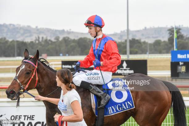 Fred Kersley returns to the mounting yard on Carlingford after winning the ClassicBet BM78 Handicap at Seymour Racecourse on April 10 2018 in Seymour...
