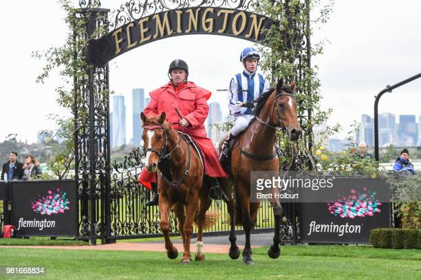 Fred Kersley returns to the mounting yard on Miles of Krishan after winning the The Murray Region Handicap at Flemington Racecourse on June 23 2018...