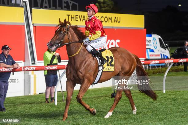 Fred Kersley returns to the mounting yard on Pirapala after winning the IGA Supermarkets Handicap at Moonee Valley Racecourse on December 15 2017 in...