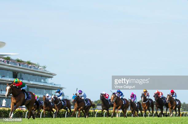 Fred Kersley riding I am Someone wins Race 9 during Melbourne Racing at Flemington Racecourse on January 12 2019 in Melbourne Australia