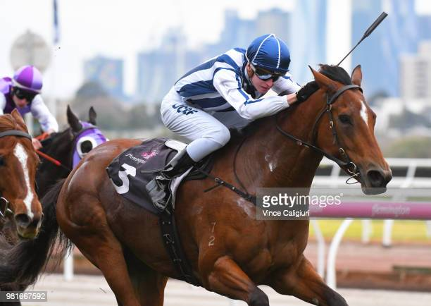 Fred Kersley riding Miles of Krishan wins Race 2 during Melbourne Racing at Flemington Racecourse on June 23 2018 in Melbourne Australia