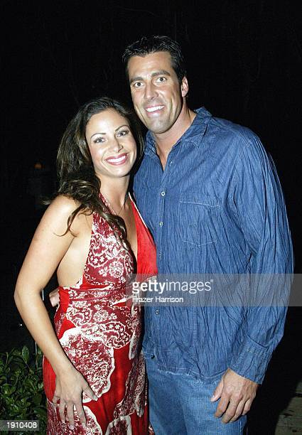 Fred Khalilian and Jill Nicolini pose for a picture as they attend a party held at Ian Schrager's SkyBar at Mondrian April 9 2003 in Hollywood...