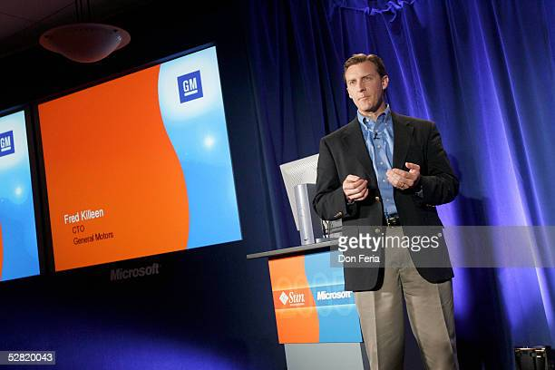 Fred Killeen, CTO of General Motors addresses a crowd of reporters and analysts May 13, 2005 at the Garden Court Hotel in downtown Palo Alto,...