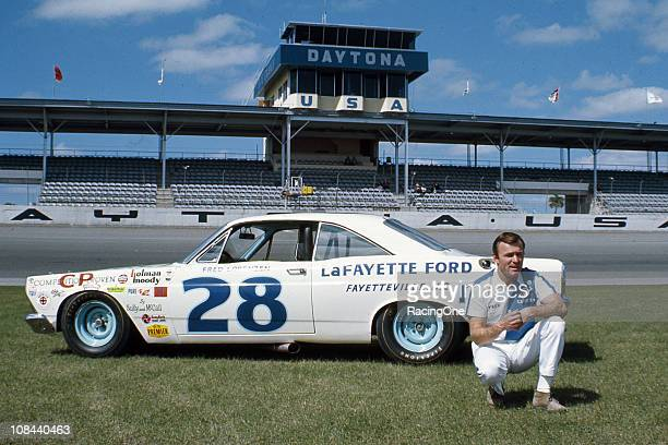 Fred Lorenzen with the HolmanMoody Ford Fairlane that he drove to a secondplace finish in the Daytona 500 NASCAR Cup race at Daytona International...