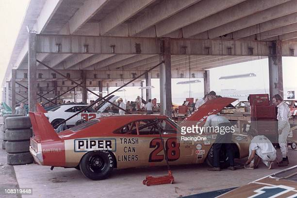 Fred LorenzenÕs Ray Foxowned Dodge Charger Daytona sits in the garage area prior to the Talladega 500 at Alabama International Motor Speedway...