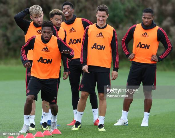 Fred Luke Shaw Jesse Lingard Marcus Rashford Ander Herrera and Antonio Valencia of Manchester United in action during a first team training session...