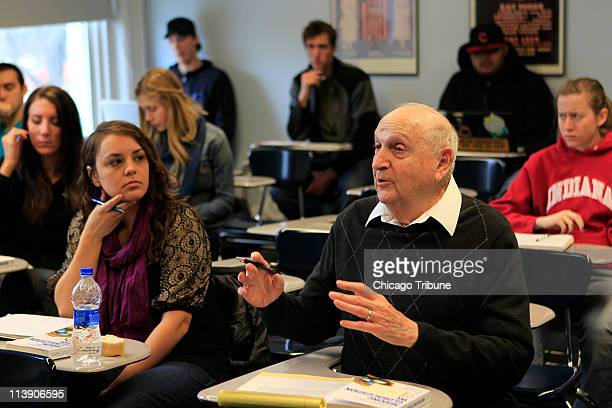 Fred Lutz foreground participates during World Politics 340 at Lake Forest College in Lake Forest Illinois April 22 2011