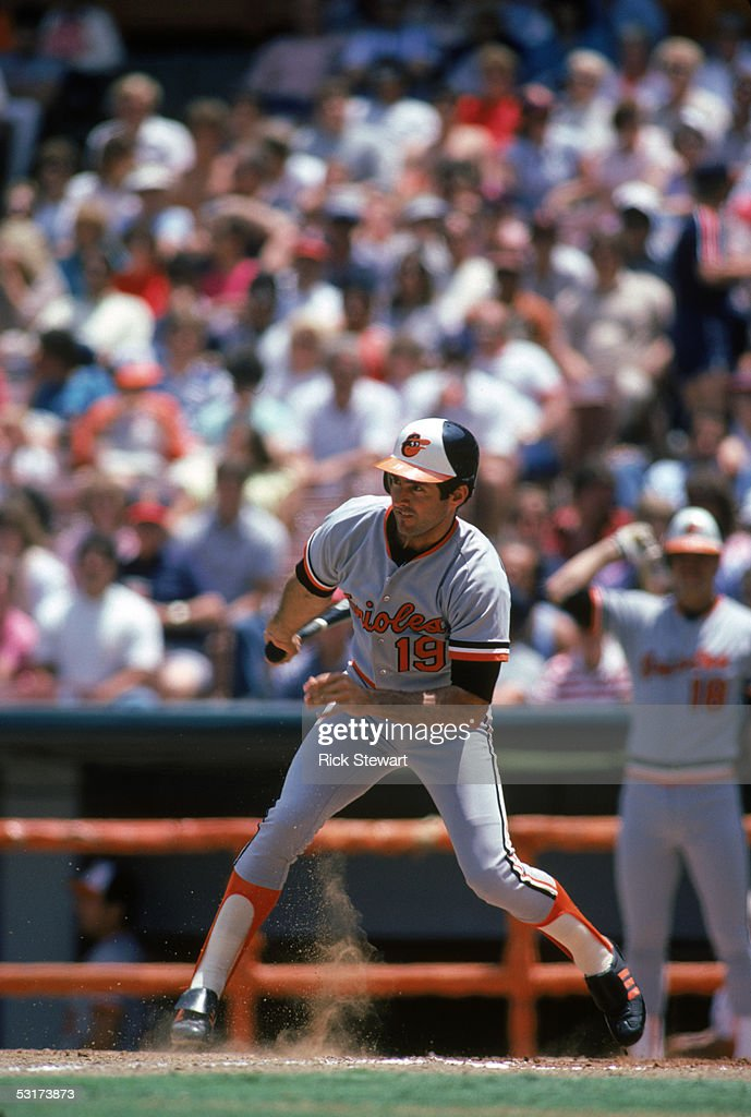 Fred Lynn #19 of the Baltimore Orioles bats against the California Angels during a June 1985 game at Anaheim Stadium in Anaheim, California.
