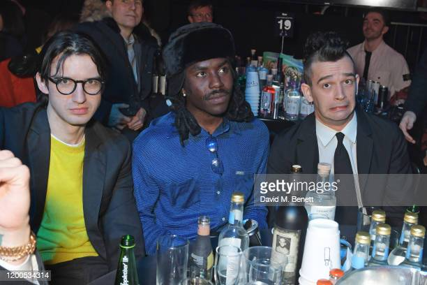 Fred MacPherson Dev Hynes aka Blood Orange and Matthew Healy attend The NME Awards 2020 at the O2 Academy Brixton on February 12 2020 in London...