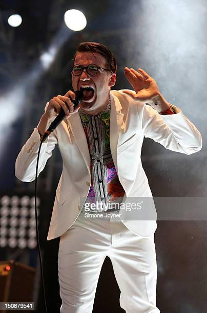 Fred Macpherson of Spector performs live on the NME/Radio 1 Stage during Day One of Reading Festival 2012 at Richfield Avenue on August 24 2012 in...
