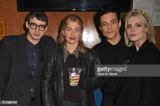 Fred MacPherson Sydney Lima Rami Malek and Lucy Boynton attend the ALEXACHUNG Fantastic collection party on January 30 2018 in London England