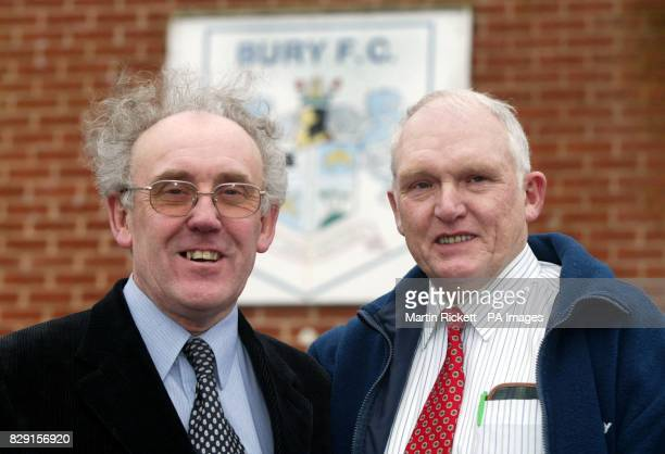 Fred Mason and John Smith directors of Bury football club after it was announced that the club will continue to play Second Division football untill...