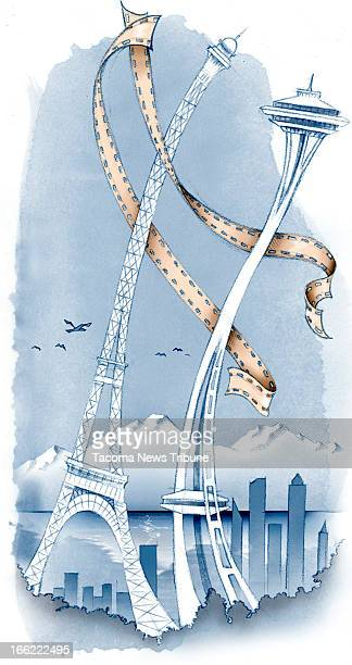 Fred Matamoros color illustration for Seattle Film Festival with Space Needle and Eiffel Tower rising in the air and dancing with film The News...
