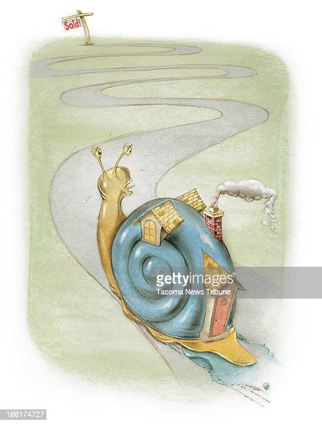 Fred Matamoros color illustration of a home depicted as a snail slowly making its way toward a Sold sign The News Tribune /MCT via Getty Images