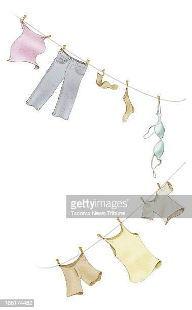 Fred Matamoros color illustration of clothes hanging from a clothesline The News Tribune /MCT via Getty Images