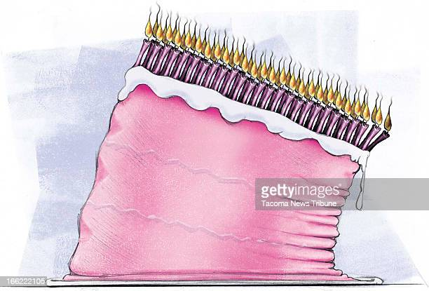 Fred Matamoros color illustration of toppling birthday cake weighted down with fifty burning candles The News Tribune /MCT via Getty Images
